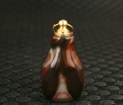 Rare chinese old natural jade agate snuff bottle netsuke copper lid
