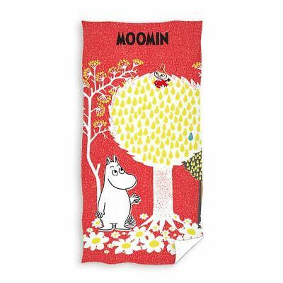 Official Moomin Red Cotton Towel Large Soft Velour Beach Pool Bath
