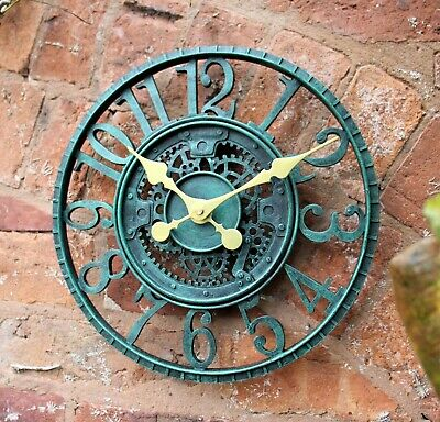 Garden Station Wall Clock  Indoor Outdoor Hand Painted church clock 29cm