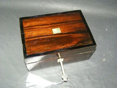 Antique Rosewood Desk Tidy Mother Of Pearl Center Working Lock & Key c1870