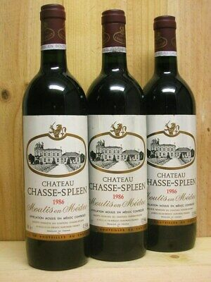 1986 * 1x CH. CHASSE SPLEEN , Cru exceptionnel, Moulis 1986 (mm port pr 3 bout.)