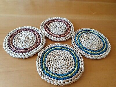 Set of Four Circular Natural Material Wicker Rattan Hand Woven Thick Coasters