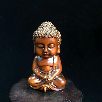 Collectable Old Boxwood Hand-Carved Such As Come The Lad Cute Auspicious Statue