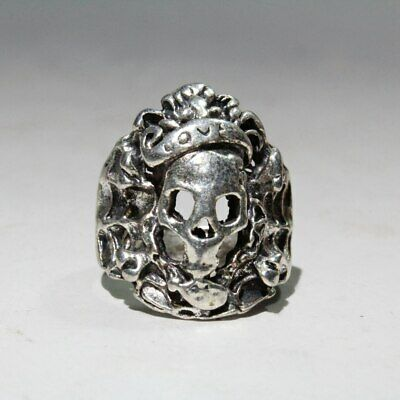 Collectable China Old Miao Silver Carve Skull Auspicious Exorcism Delicate  Ring