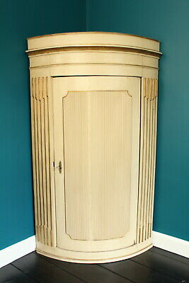 Early Antique painted reeded corner cupboard thought to be Georgian cream gold