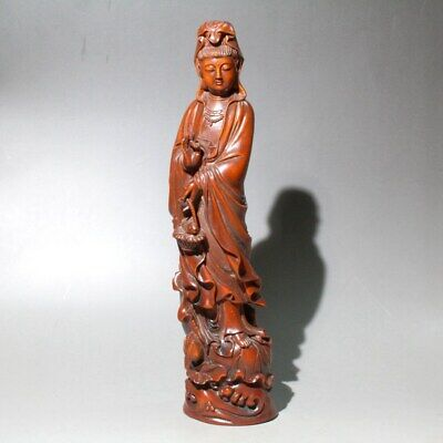 Collectable China Old Boxwood Hand-Carved Kwan-yin Auspicious Noble Rare Statue