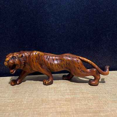 Collectable Chinese Ancient Boxwood Hand-Carve Auspicious Delicate Tiger Statue