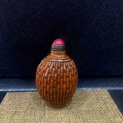 Collection China Old Boxwood Hand-Carved Delicate Beautiful Unique Snuff Bottle