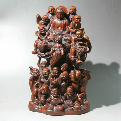Collect China Old Boxwood Hand-Carved Eighteen Arhats Exorcist Rare Noble Statue