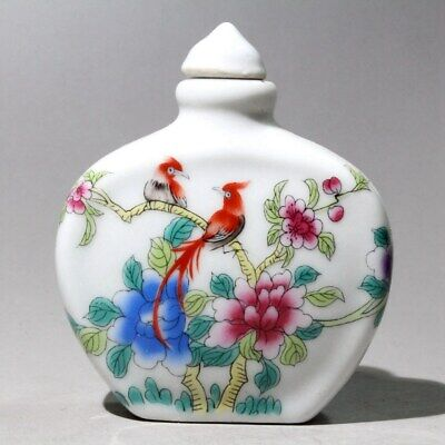 Collectable China Old Porcelain Hand-Carved Flower Bird Bueautiful Snuff Bottle