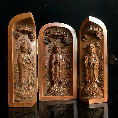 Collectable Old Boxwood Hand-Carved Buddhist Shrine Stands Delicate Noble Statue