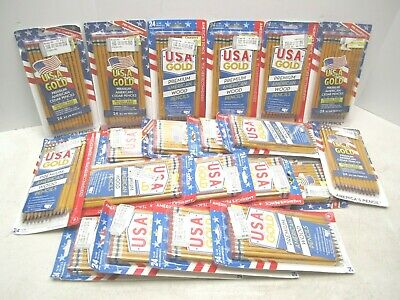 Usa Gold #2 Cedar Pencils Lot Of 20 Packs (24 In Each Pack) 480 Pencils Total