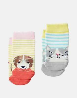 Joules Baby Girls Neat Feet Two Pack Character Socks - CREAM CAT DOG Size 6m-12m