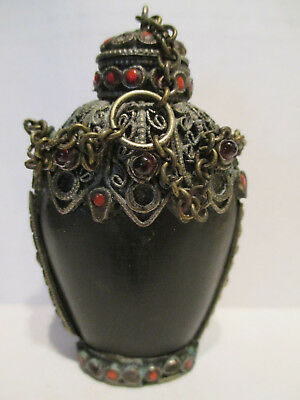 Rare Antique Asian Metal Snuff Bottle Embellished With Coral & Amber Stones