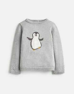 Joules Baby Girls Ivy Intarsia Knitted Jumper - GREY KNIT PENGUIN Size 6m-9m