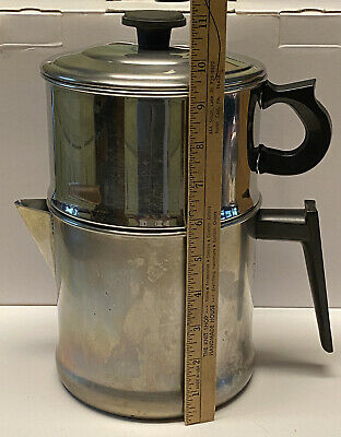 Coffee Pot 10 Cup Lifetime T304 Stainless Steel Stove Top Drip Vintage Camping