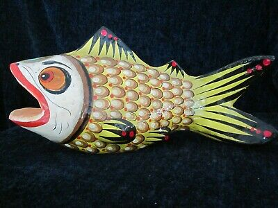 Vintage Signed Ser-Mel Mexican Paper Mache Hand Painted Fish 14""
