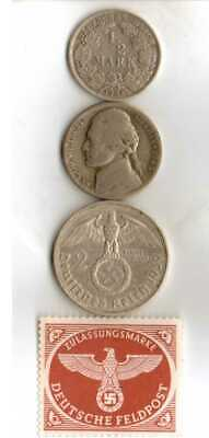 #-9-)-*rare WWII-*German Stamp + *US and  *German  SILVER war TIME  coins