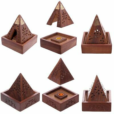 Wooden Buddha  Ash Catcher Pyramid Incense Box Cone Burner Holder Home Fragrance