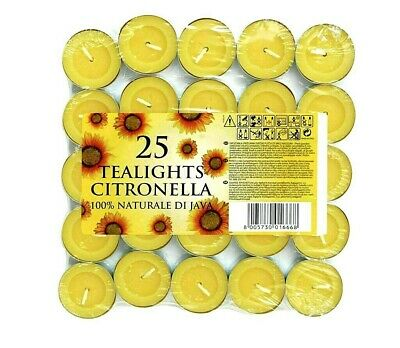 Price's Citronella Tealight Candles Mosquito Fly Insect Repeller Pack of 25 Set