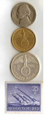 #-10-)-*rare WWII-*German Stamp + *US and  *German  SILVER  and  BRASS   coins
