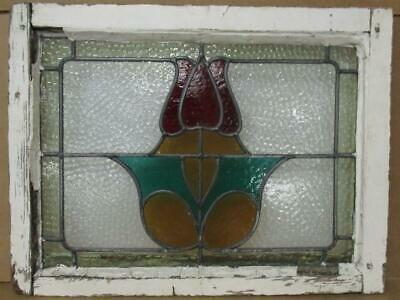 """OLD ENGLISH LEADED STAINED GLASS WINDOW Colorful Tulip design 22.25"""" x 17"""""""