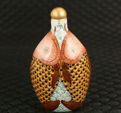 Rare Chinese old porcelain hand painting art fish statue snuff bottle Noble gift