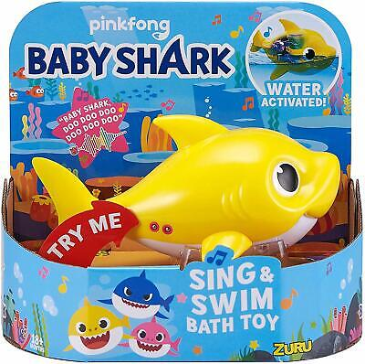 Baby Shark Sing & Swim Bath Toy Water Activated Robo Fish Playset - Yellow