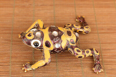 Big Chinese old colour cloisonne hand painting frog netsuke statue figure