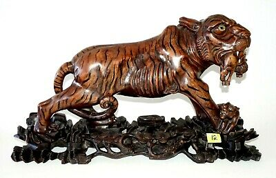 20C Chinese Woden Carved Sculpture on Base Lioness w. Prey & Cub (IsH)#12