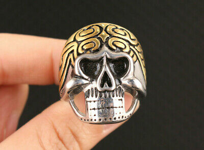fashion fine Chinese old tibet silver miao hand carved skull head cool Ring