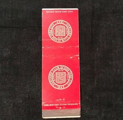 Vintage Harvard Club of New York City Matchbook Match Cover