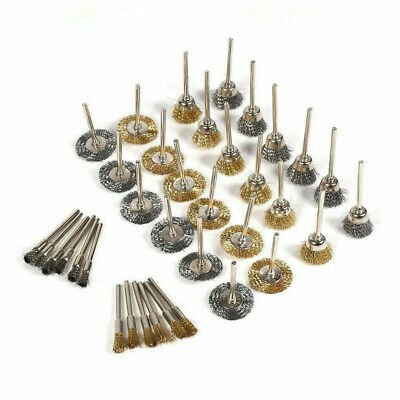 36Pcs Steel Brass Wire Polishing Brushes Wheels Set Fit For Dremel Rotary Tool