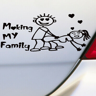 1Pc Silver White My Family Funny Vinyl Decal Sticker Car Auto Window Decal New