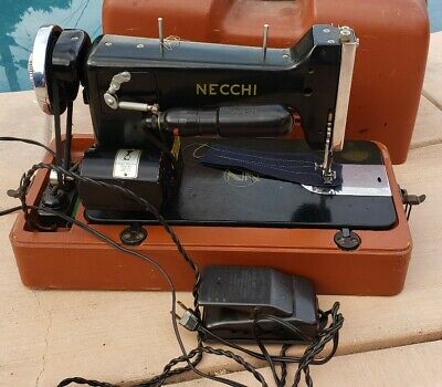 VINTAGE NECCHI BF Sewing Machine with Case Works Need New Belt
