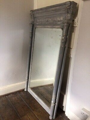 Antique French Painted Wood Wall Mirror
