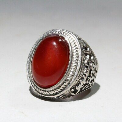 Collectable China Old Miao Silver & Agate Carve Delicate Noble Beautiful Ring