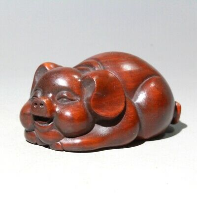 China Collectable Old Boxwood Hand-Carved Lovely Pig Interesting Delicate Statue