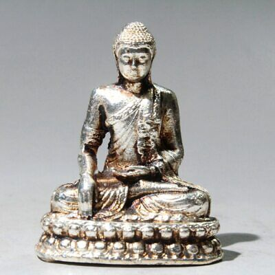 Collectable China Miao Silver Hand-Carved Bring Auspicious Noble Buddha Statue