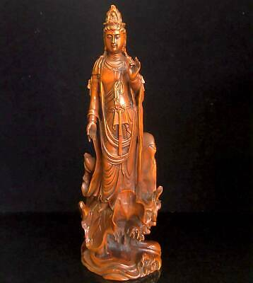China Collectable Old Boxwood Hand-Carved Kwan-yin Lotus Leaf Auspicious Statue