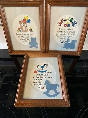 Vintage Matted Nursery Pictures W/ Wood Frames~Excellent ~