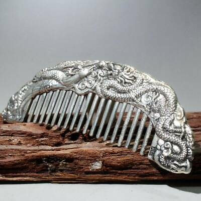 China Collectable Handwork Old Miao Silver Carve Dragon & Phoenix Beautiful Comb