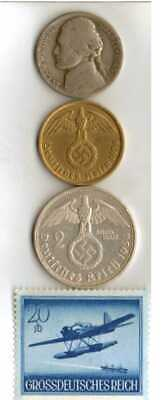 #-9-)-*rare WWII-*German Stamp + *US and  *German  SILVER  and  BRASS   coins