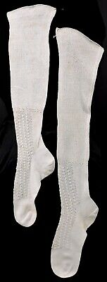 Victorian 19Th C White Fishnet And Lace Stockings For Dress