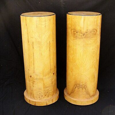 """PAIR of CIRCULAR """"ART DECO"""" PEDESTAL PLANT STANDS in WALNUT [80cm TALL] in vgc"""