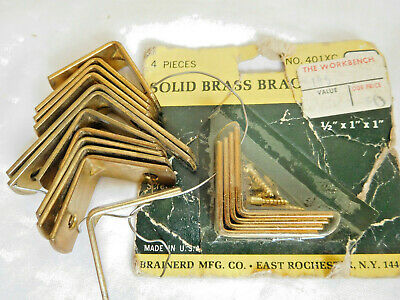 "lot of 16 SOLID BRASS vintage small 1"" & 1 1/2"" L BRACKETS Brainerd USA"