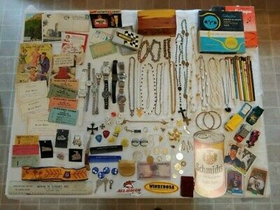 Vintage Estate Junk Drawer Lot- JEWELRY, WATCHES,KEYS,KNIFE,POSTCARDS, COINS
