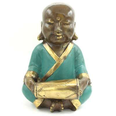 Chinese Monk Figure With Drum (21cm) Bronze Statue Music - AsienLifeStyle