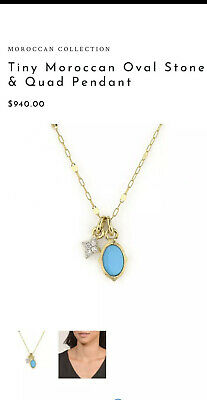 ✨18k Jude Frances Moroccan Gold Diamond Turquoise Charm Necklace✨$940