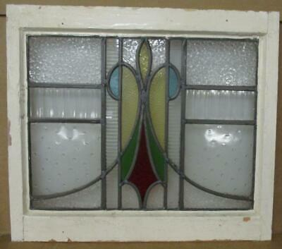 "OLD ENGLISH LEADED STAINED GLASS WINDOW Abstract, Multi Textured 19.5"" x 17"""
